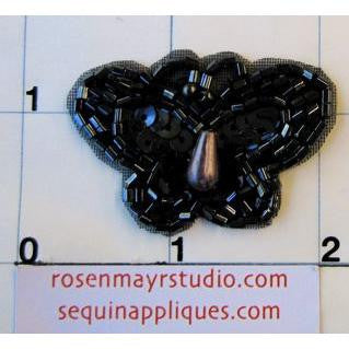 "Butterfly Gun Metal Sequins and Beads 1"" x 1.5"""