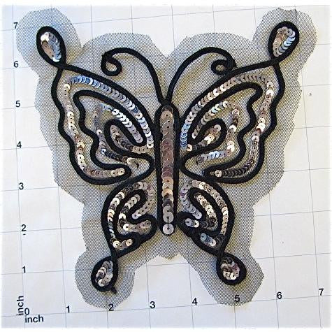 "Butterfly Silver Sequins with Black Trim 6.5"" x 6.5"""