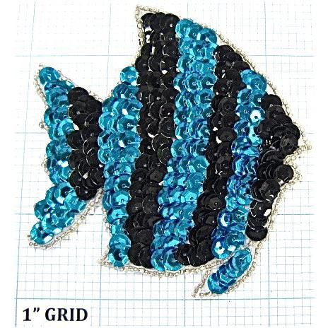 "Fish with lack and Turquoise Sequins and Siler Beads 3.75"" x 3.5"""