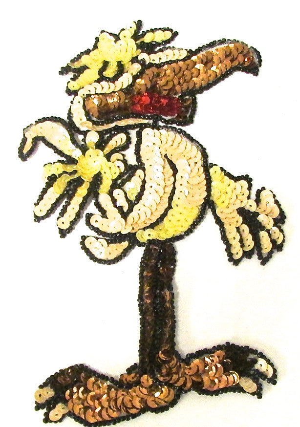 "Bird with yellow and Bronze Sequins and Beads 7.5"" x 5"""