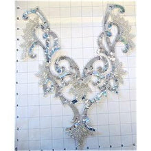 "Load image into Gallery viewer, Designer Motif Neckline with Silver sequins and Beads, 13"" x 11"""