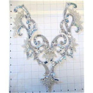 "Designer Motif Neckline with Silver sequins and Beads, 13"" x 11"""