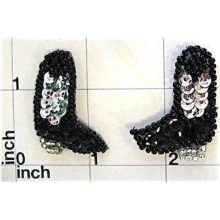 Boot Cowboy with Black and Silver Sequins and Beads 1.5""