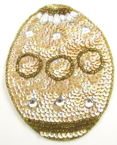 "Easter Egg with Beige and Crystals Sequins and Beads 5"" x 4"""