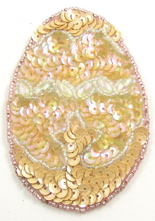 "Easter Egg with Yellowish Sequins and Beads  3.5"" x 2"""