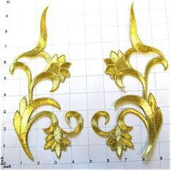 "Designer Motif Flower Swirl Pair, Metallic Gold Embroidered Iron-on 9.5"" x 4"""