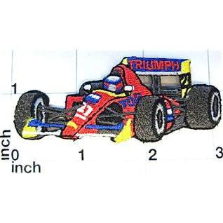 "Car Racer Embroidered Iron-On  3"" x 1"""