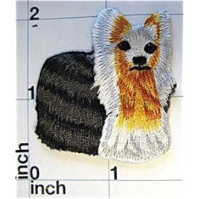 "Dog, Yorkshire Terrier Embroidered Iron-On  1.75"" x 2"""