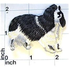 Dog, Black and White Collie Embroidered Iron-on 2.75""