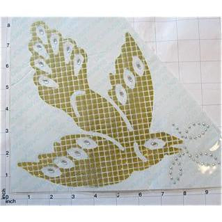 "Dove with Swarovski Aurora Gold Sequin and RS Heat Transfer 8"" x 9"""