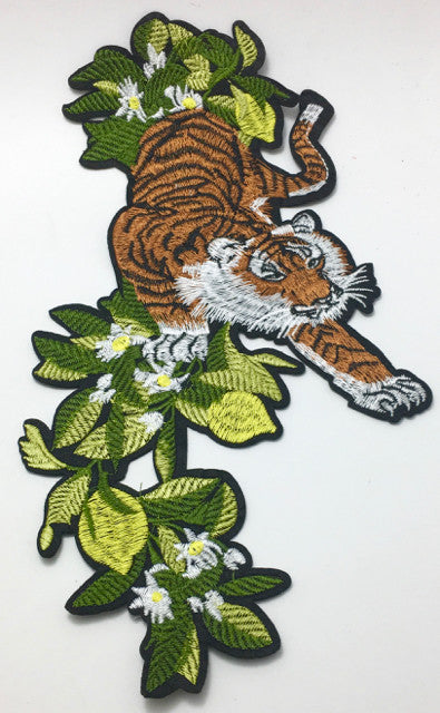 "Tiger in Foliage Embroidered Not Iron-On 6"" x 11"""