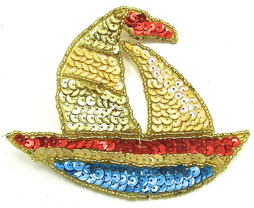 "Sailboat with Multi-Colored Sequins and Beads 4"" x 5"""