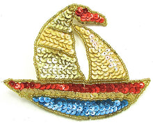 "Load image into Gallery viewer, Sailboat with Multi-Colored Sequins and Beads 4"" x 4.75"""