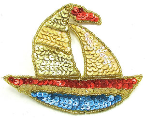 "Sailboat with Multi-Colored Sequins and Beads 4"" x 4.75"""