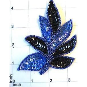 Leaf with Two Tone Blue Sequins and Beads 4""