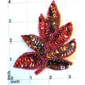 "Leaf with Red and Bronze Sequins and Beads 4.5"" x 4"""