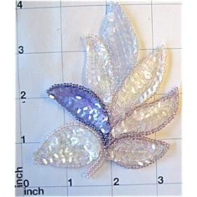 "Leaf with Pink Lite Blue Lite Purple and Iridescent Sequins and Beads 4.5"" x 4"""