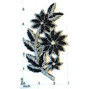 "Flower with Black and Silver Beads and Rhinestones 5.5"" x 3"""