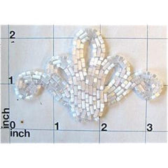 Designer Motif with White Bugle Beads   3.25""