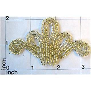 Light Gold Beaded Designer Applique 3.5""