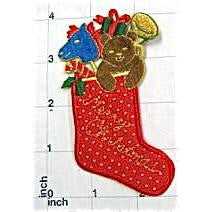 "Christmas Stocking With Toys, Embroidered  4"" x 2"""