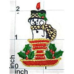 Snowman Candle Embroidered, 2.5