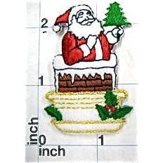 "Santa coming Out Of Chimney Embroidered,  2"" x 1.5"""