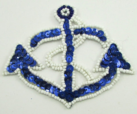 "Anchor Blue Sequins White Beads 3"" x 3.75"""