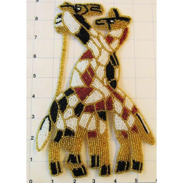 Giraffe Pair with Multi-Colored Beads