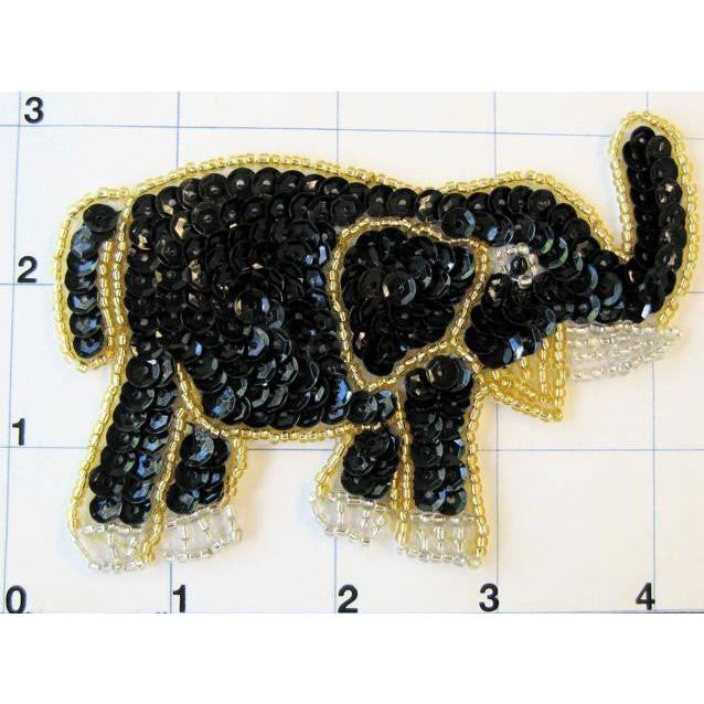 "Elephant with Gold Trim Black Sequins 4"" x 3"""