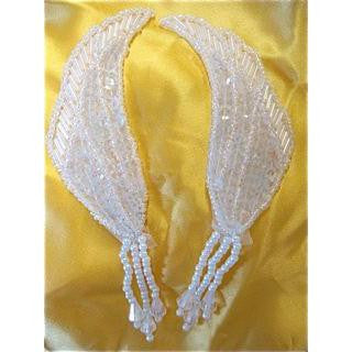 "Epaulet Wing Shaped Pair with White Sequins and Beads 5"" x 1"""