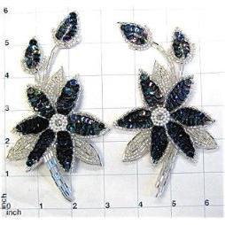 "Flower Pair or Single with Moonlight Sequins and Silver Beads 6""X 3"""