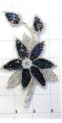 Flower Pair or Single with Moonlight Sequins and Silver Beads 6