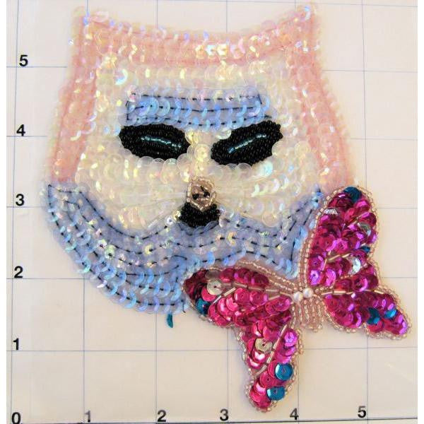 "Cat Face in Pink and Baby Blue Sequins 6"" x 5"""