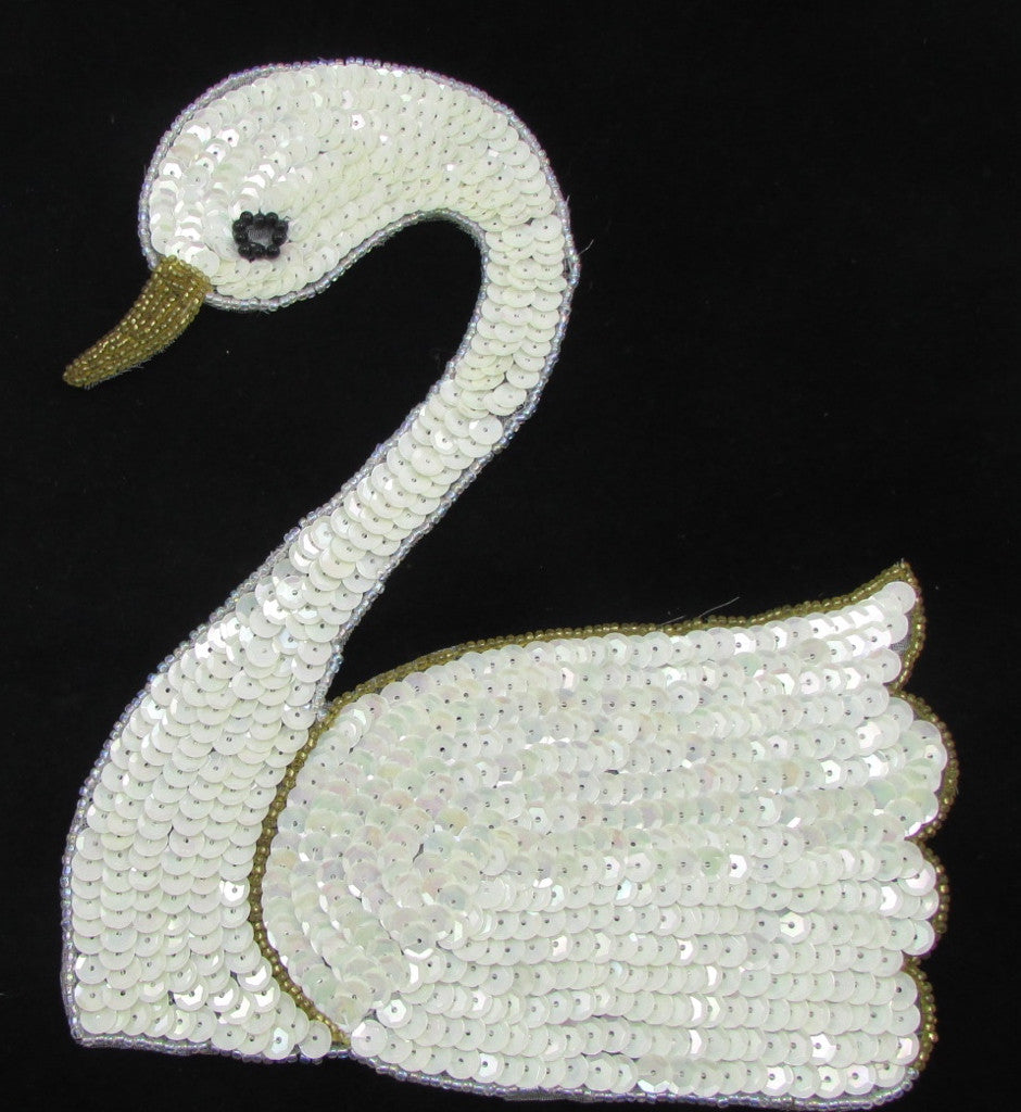 "Swan with China White Sequins and Gold Beads 7"" x 6"""