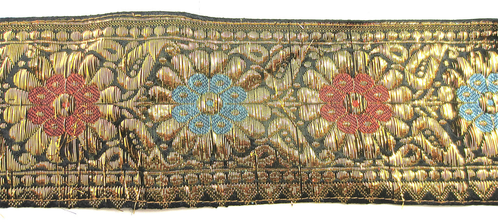 "Trim with Shiney Bullion Thread and Blue and Rose Embroidery 3"" Wide"
