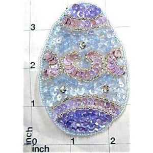 "Easter Egg Sequin Beaded  3.5"" x 2.5"""