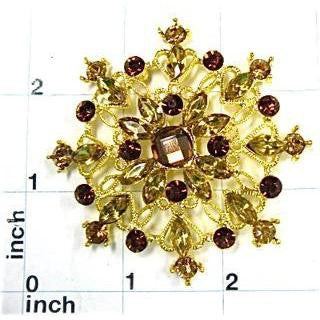 Designer FAux Jeweled Ornament with Gold and Bronze rhinestones 3""