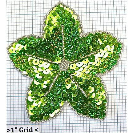 "Flower Lime Green Sequins 4.25"" x 4.25"""