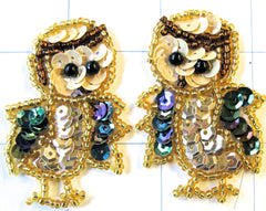 "Owl pair with moonlite and gold sequins   2"" x 1.25"""