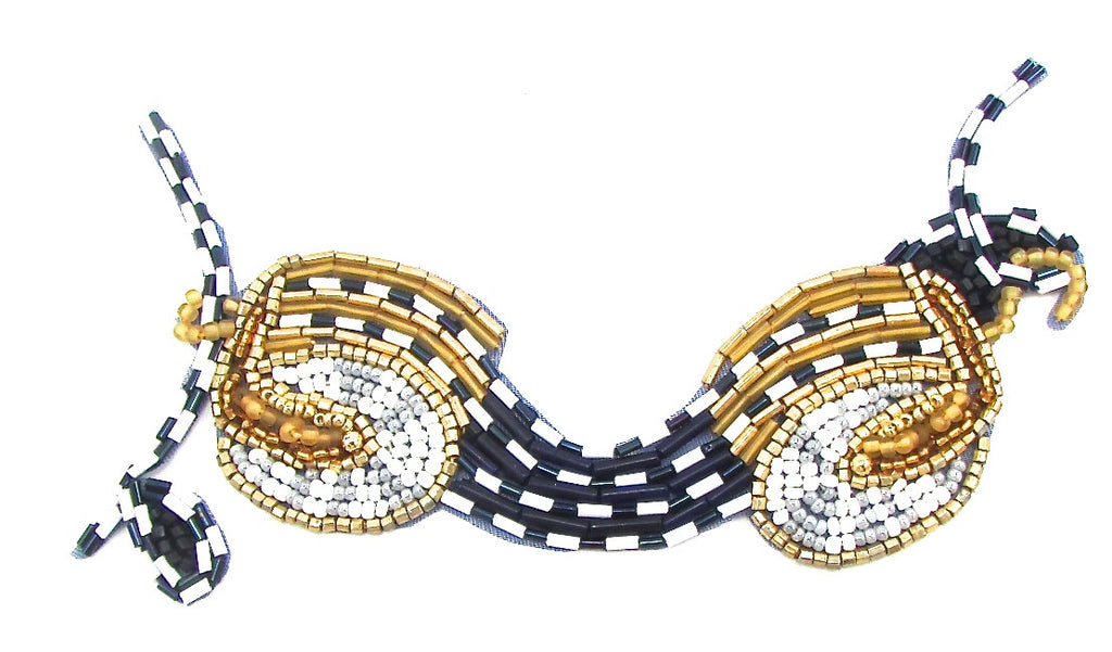 "Designer Motif with Black and white and Gold Beads 3"" x 5.5"""