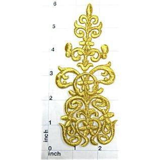 "Designer Motif Metallic Gold Embroidered Iron-on  2.5"" x 6"""