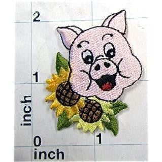 "Pig Smiling with Sunflowers Embroidered Iron-on  2"" x 1.5"""