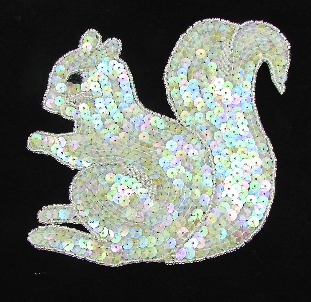 "Squirrel with Iridescent Sequins and Beads 6"" x 6.5"""
