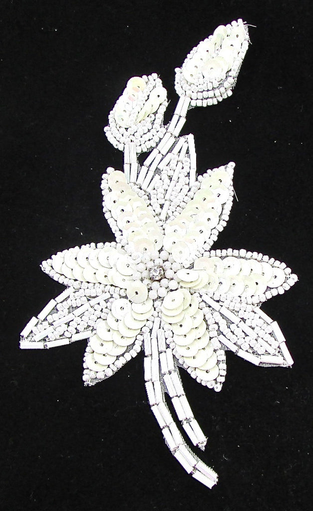"Flower with White Sequins and Beads and Rhinestone 6"" x 3"""