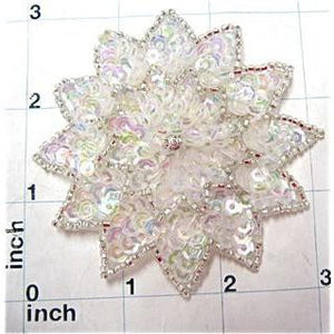 Flower with Iridescent Sequins Silver Beads and Rhinestone 3""
