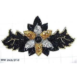 Designer Motif Black Gold and Silver Sequins 6.25""