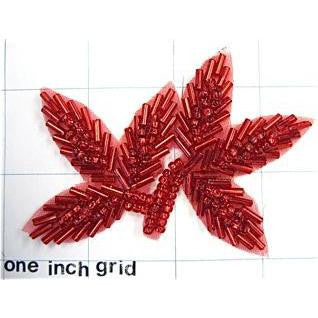 Leaf with Red Beads 3.5