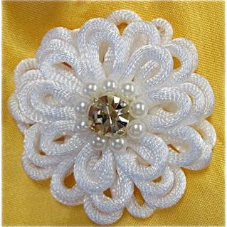"Flower White Silk Flower with Rhinestone and Pearl center. 2"" x 2"""