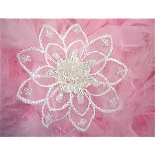 "Beaded and pearled flower 2.5"" X 2.5"" - Sequinappliques.com"